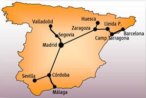 Схема маршрутов поездов Ave