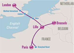 Схема направлений Eurostar