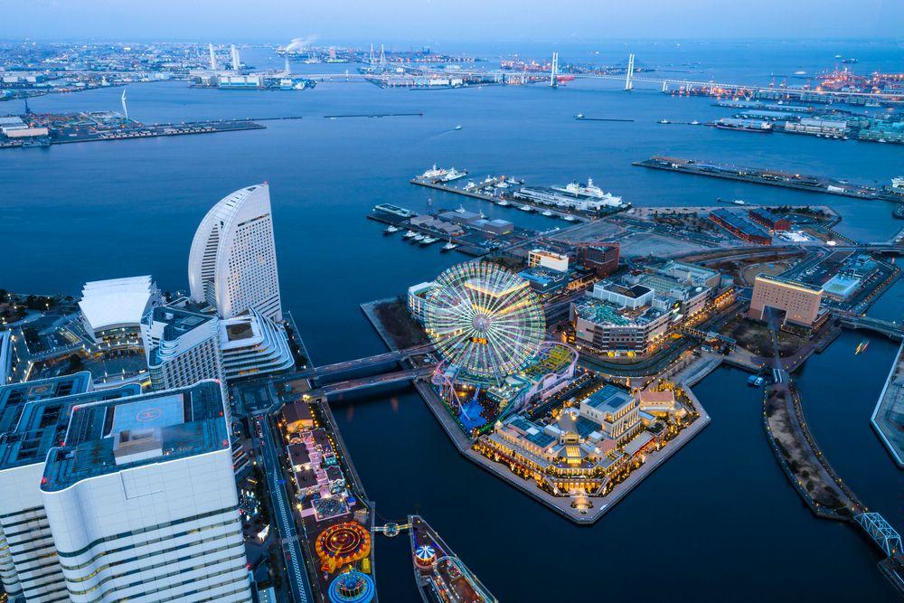Йокогама. Вечерняя панорама сверху