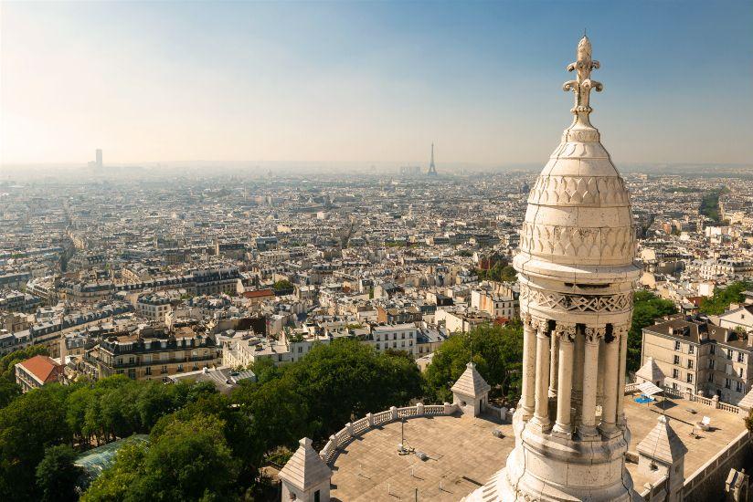 Париж. Округ 2. Монмартр. Базилика Сакре-Кёр. Вид на город. Округ 2 – Биржа
